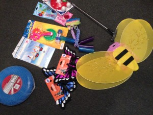 Goods from dollar store for this week and weeks to come- bumble bee accessories, jump ropes, frisbees, golf clubs, etc...