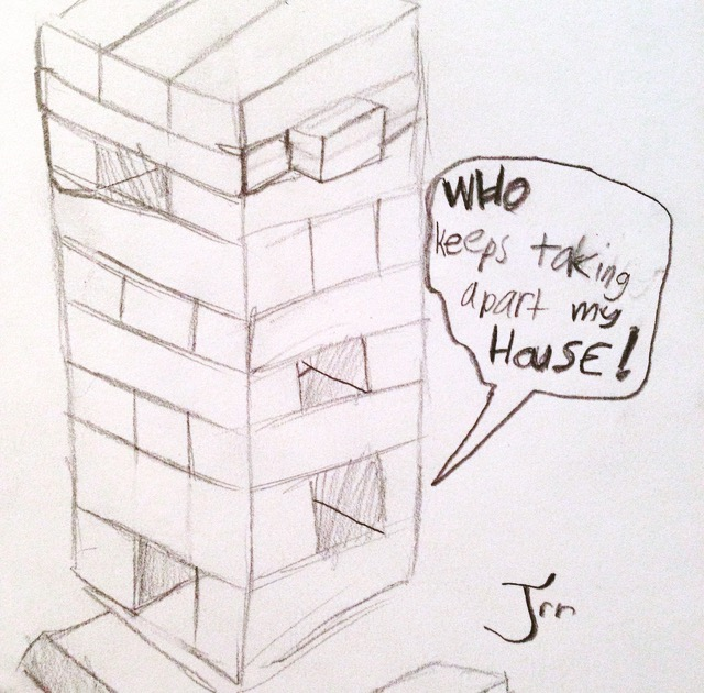 Jenga strengthens attention as we focus on hand movements and spatial positions. Just take care not to destroy a little critter's home in the wooden tower of blocks!