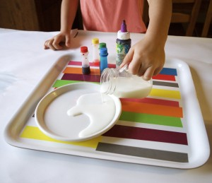 Color experiment for kids using food coloring